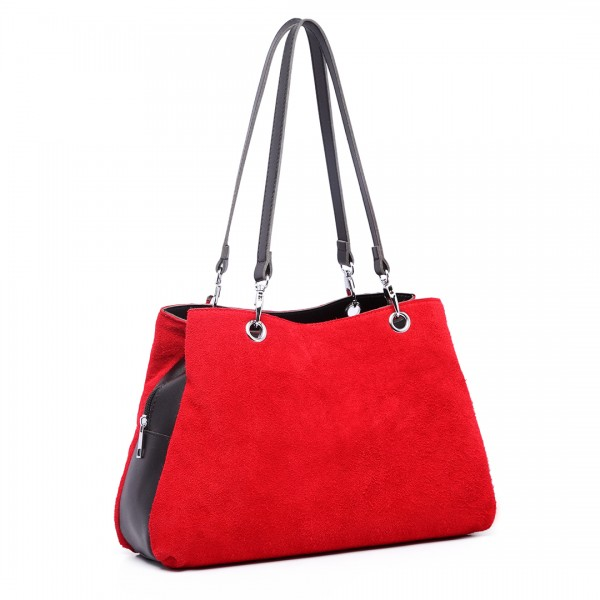 LH1724 - Miss Lulu Suede and Leather Shoulder Bag Red