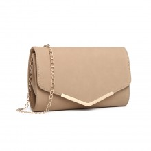 LH1756 - Miss Lulu Leather Look Envelope Clutch Bag - Beige