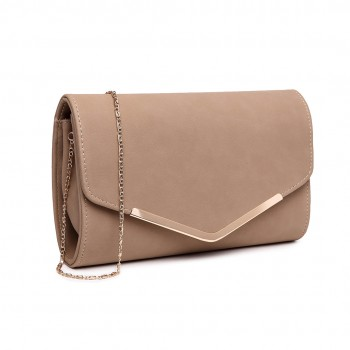 LH1756 BG - Miss Lulu Leather Look Envelope Clutch Bag Beige