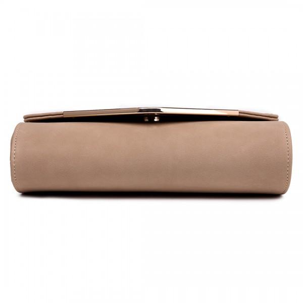 LH1756 BG - Miss Lulu Leather Look Envelope Clutch Bag Beige