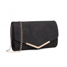 LH1756 - Miss Lulu Leather Look Envelope Clutch Bag - Black