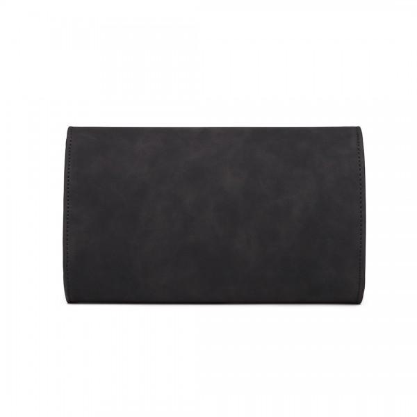 LH1756 - Miss Lulu Lederoptik Briefumschlag Unterarmtasche - Schwarz