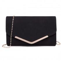 LH1756 BK - Miss Lulu Leather Look Envelope Clutch Bag Black