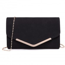 LH1756 BK - Miss Lulu Leather Look Envelope Clutch Bag Black