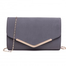 LH1756 GY - Miss Lulu Leather Look Envelope Clutch Bag Grey
