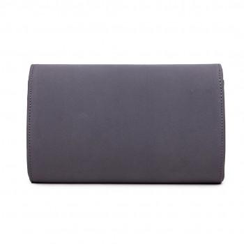 LH1756 GY - Miss Lulu Leather Look Envelope Clutch Bag Grey