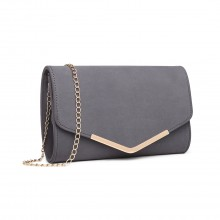 LH1756 - Miss Lulu Leather Look Envelope Clutch Bag - Grey