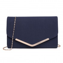 LH1756 NY - Miss Lulu Leather Look Envelope Clutch Bag Navy
