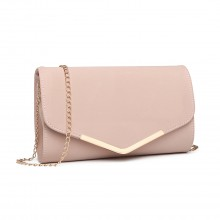LH1756 - Miss Lulu Leather Look Envelope Clutch Bag - Pink