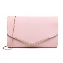LH1756 PK - Miss Lulu Leather Look Envelope Clutch Bag Pink