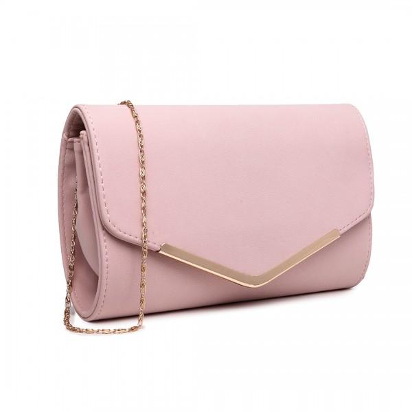 LH1756 PK - Miss Lulu Leather Look Envelope Clutch Bag Pink