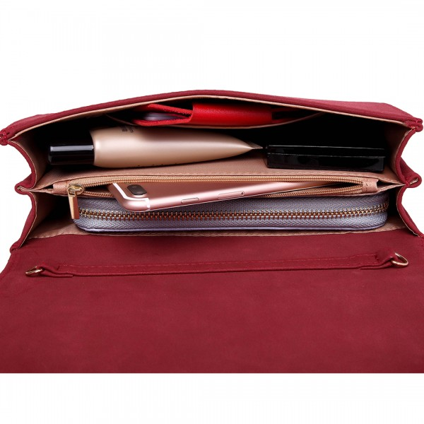 LH1756 RD - Miss Lulu Leather Look Envelope Clutch Bag Red
