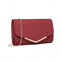 LH1756 - Miss Lulu Leather Look Envelope Clutch Bag - Red