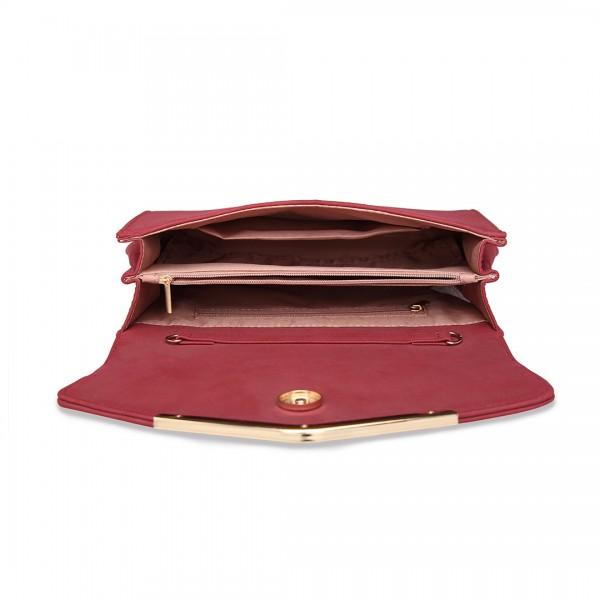 LH1756 - Miss Lulu Lederoptik Briefumschlag Unterarmtasche - Rot