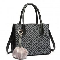 LH1759-MISS LULU HANDBAG PU LEATHER POMPOM Handbags BLACK/COFFEE