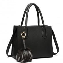 LH1759-MISS LULU HANDBAG PU LEATHER POMPOM Handbags BLACK