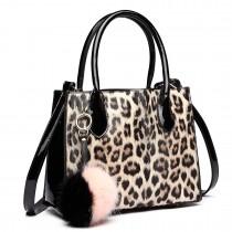 LH1759P-MISS LULU PU LEATHER POMPOM LEOPARD Pattern Handbags