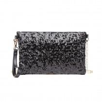 LH1765 BK- Miss Lulu Sequins Clutch Evening Bag Black