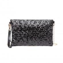 LH1765 BK- Miss Lulu Sequins Clutch Evening Bag Black