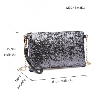 LH1765 GY- Miss Lulu Sequins Clutch Evening Bag Grey