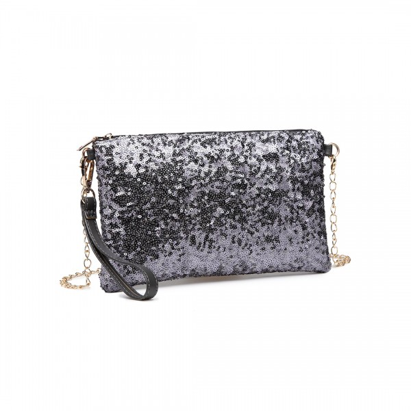 LH1765 GY- Miss Lulu Sequins Clutch Evening Bag Grey