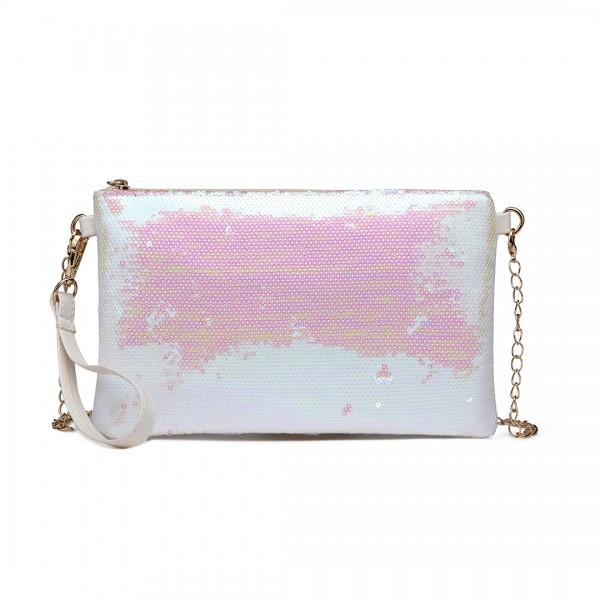 LH1765 WE- Miss Lulu Sequins Clutch Evening Bag White