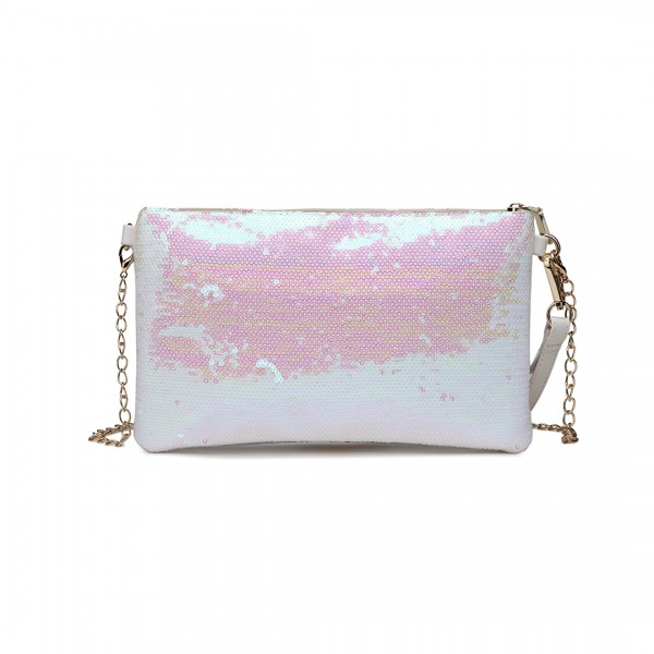LH1765 WE- Miss Lulu Sequins Clutch Evening Bag White