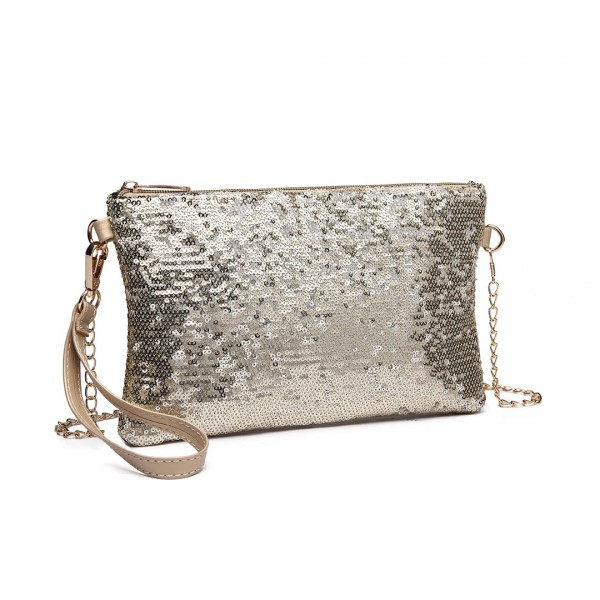 LH1765 L GD- Miss Lulu Sequins Clutch Evening Bag Light Gold