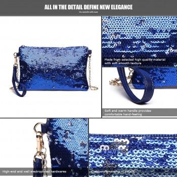 LH1765 NY- Miss Lulu Sequins Clutch Evening Bag Navy