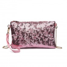 LH1765 PK- Miss Lulu Sequins Clutch Evening Bag Pink