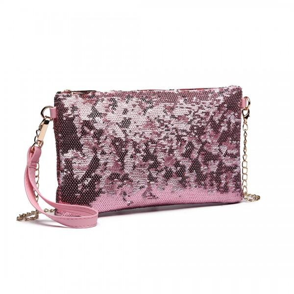 LH1765 PK- Miss Lulu Sequins Clutch Evening Bag Pink