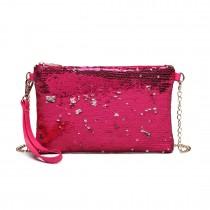 LH1765 PM- Miss Lulu Sequins Clutch Evening Bag Plum