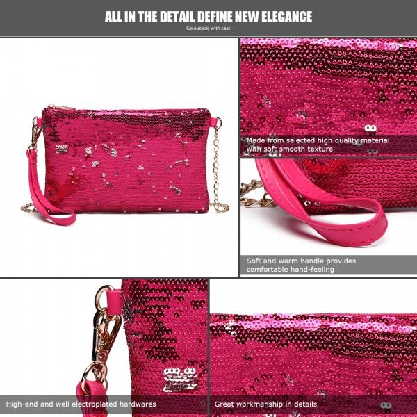 LH1765 PM- Miss Lulu Sequins Clutch Evening Bag Plum