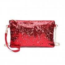 LH1765 RD- Miss Lulu Sequins Clutch Evening Bag Red
