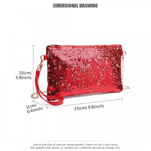 LH1765 RD- Miss Lulu Sequins Clutch Evening Bag Red