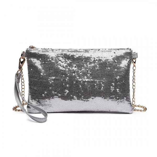 LH1765 SI - Miss Lulu Sequins Clutch Evening Bag Silver