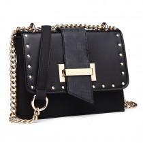 LH1767 BK -Miss Lulu Small PU Cross Body Messenger Bag Black