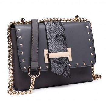 LH1767 GY -Miss Lulu Small PU Cross Body Messenger Bag Grey
