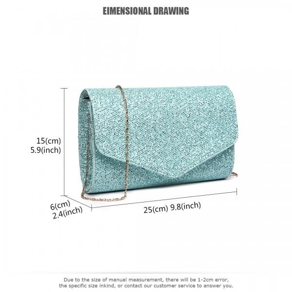 LH1801-Miss Lulu Glitter Envelope Clutch Evening Bag Blue