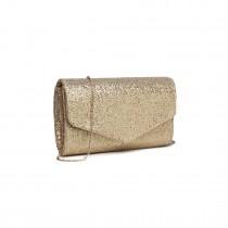 LH1801-Miss Lulu Glitter Envelope Clutch Evening Bag Beige