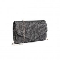 LH1801-Miss Lulu Glitter Envelope Clutch Evening Bag Dark Black
