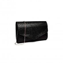 LH1801-Miss Lulu Sequins brillant chaîne enveloppe embrayage sac de soirée noir foncé