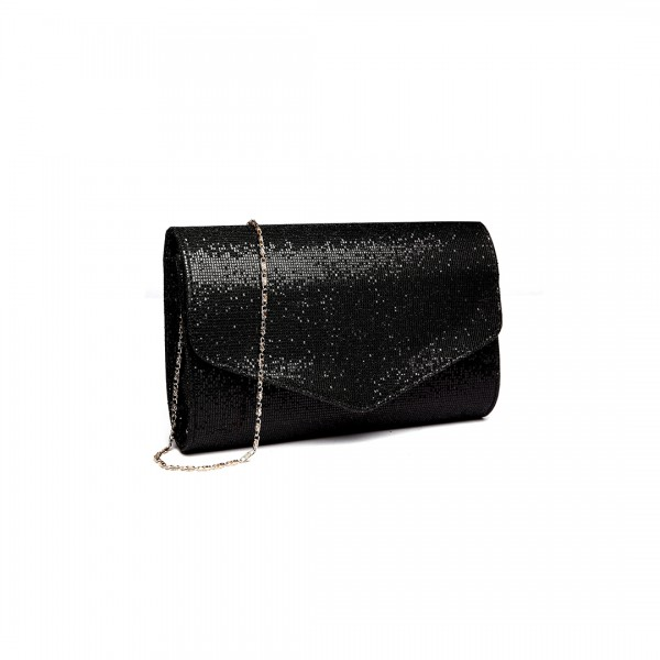 LH1801-Miss Lulu Glitter Envelope Clutch Evening Bag Black