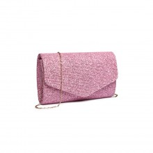 LH1801-Miss Lulu Glitter Envelope Clutch Evening Bag Pink