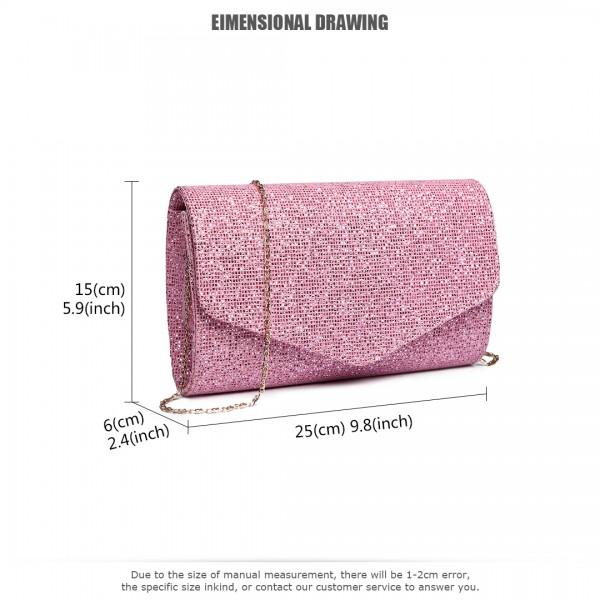 LH1801-Miss Lulu Glitter Envelope Clutch Evening Bag Pink