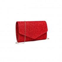 LH1801-Miss Lulu Glitter Envelope Clutch Evening Bag Red