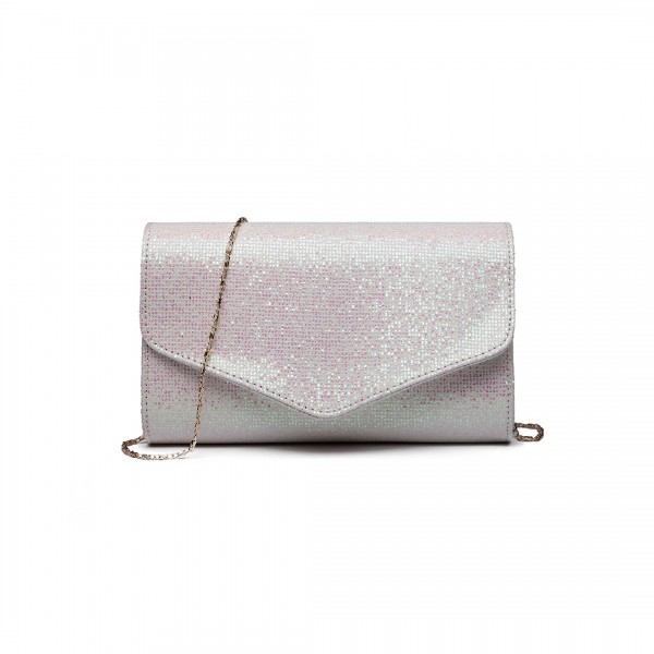 LH1801-Miss Lulu Glitter Envelope Clutch Evening Bag White