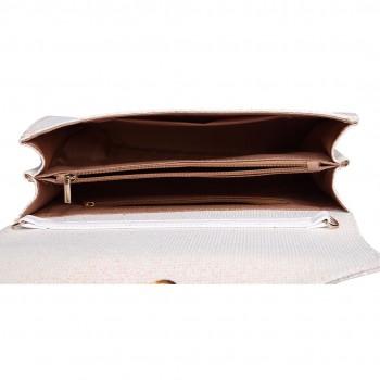 LH1801-Miss Lulu Glitter Envelope Clutch Evening Bag White