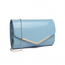LH1809-Miss Lulu Patent leather Envelope Clutch Bag Blue