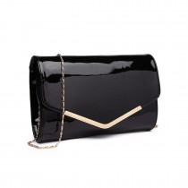 LH1809-Miss Lulu Patent leather Envelope Clutch Bag Black